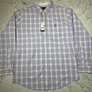Other - NWT U.S. Polo Assn Purple Plaid Button-Down Shirt